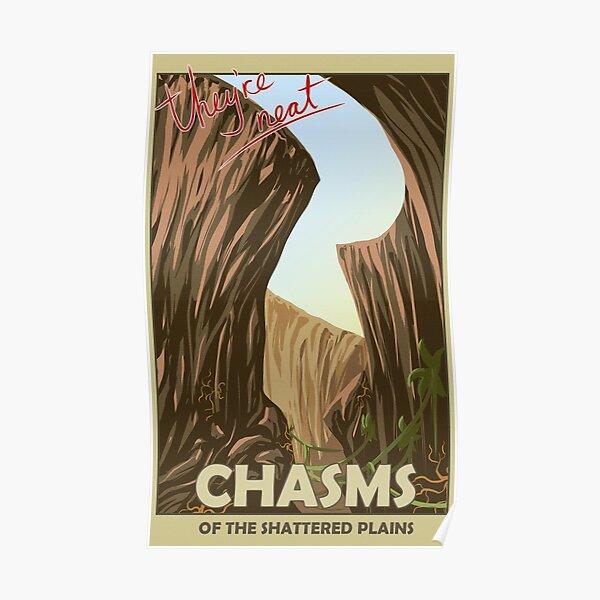 Abismos del cartel de viaje de las llanuras destrozadas Póster