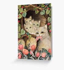 Cats in the wood piles Greeting Card
