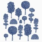 Arboretum 230715 - Navy Blue on White by Artberry