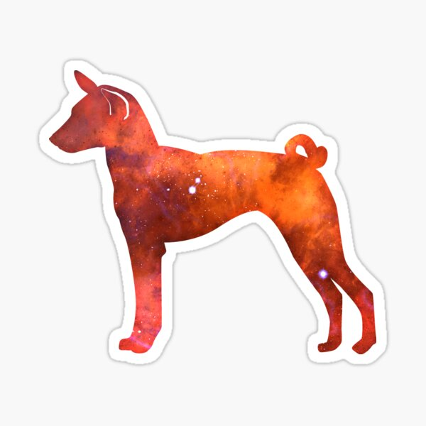 Basenji Orange Galaxy Silhouette Sticker