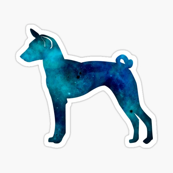 Basenji Blue, Green and Teal Galaxy Silhouette Sticker