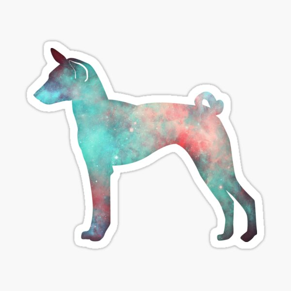 Basenji Galaxy Silhouette in pinks, teals and purples Sticker