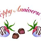 Happy Anniversary Chocolate Covered Strawberries With Candy by daphsam