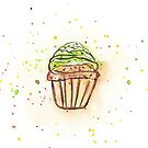 Chocolate Cupcake Watercolor  by daphsam
