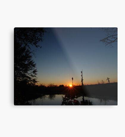 Sunset  with Rays Metal Print