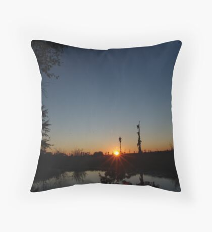 Sunset  with Rays Throw Pillow