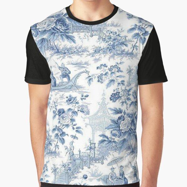 Powder Blue Chinoiserie Toile Graphic T-Shirt