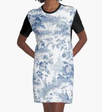 Powder Blue Chinoiserie Toile Graphic T-Shirt Dress