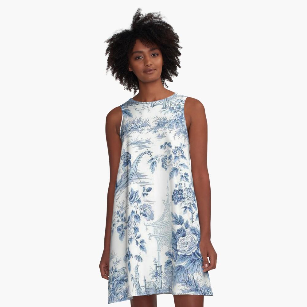 Powder Blue Chinoiserie Toile A-Line Dress