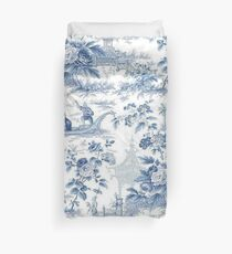 Puderblaue Chinoiserie Toile Bettbezug