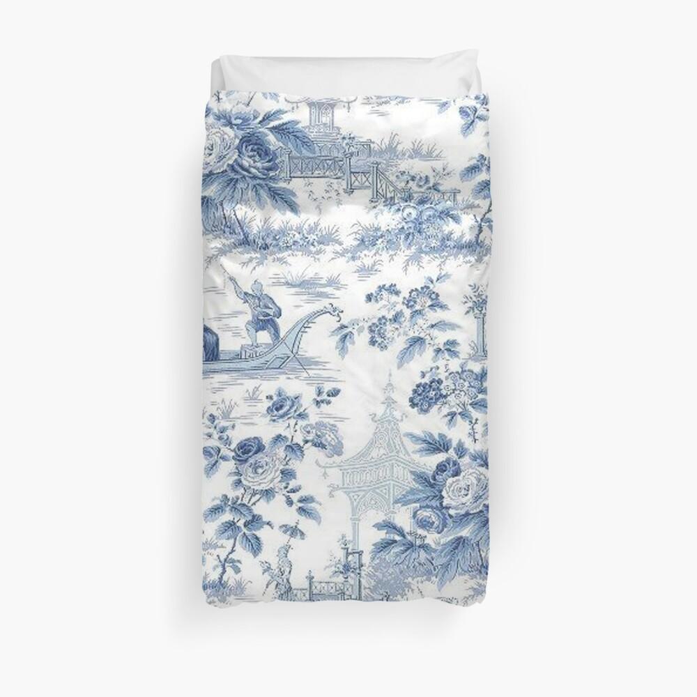 Powder Blue Chinoiserie Toile Duvet Cover