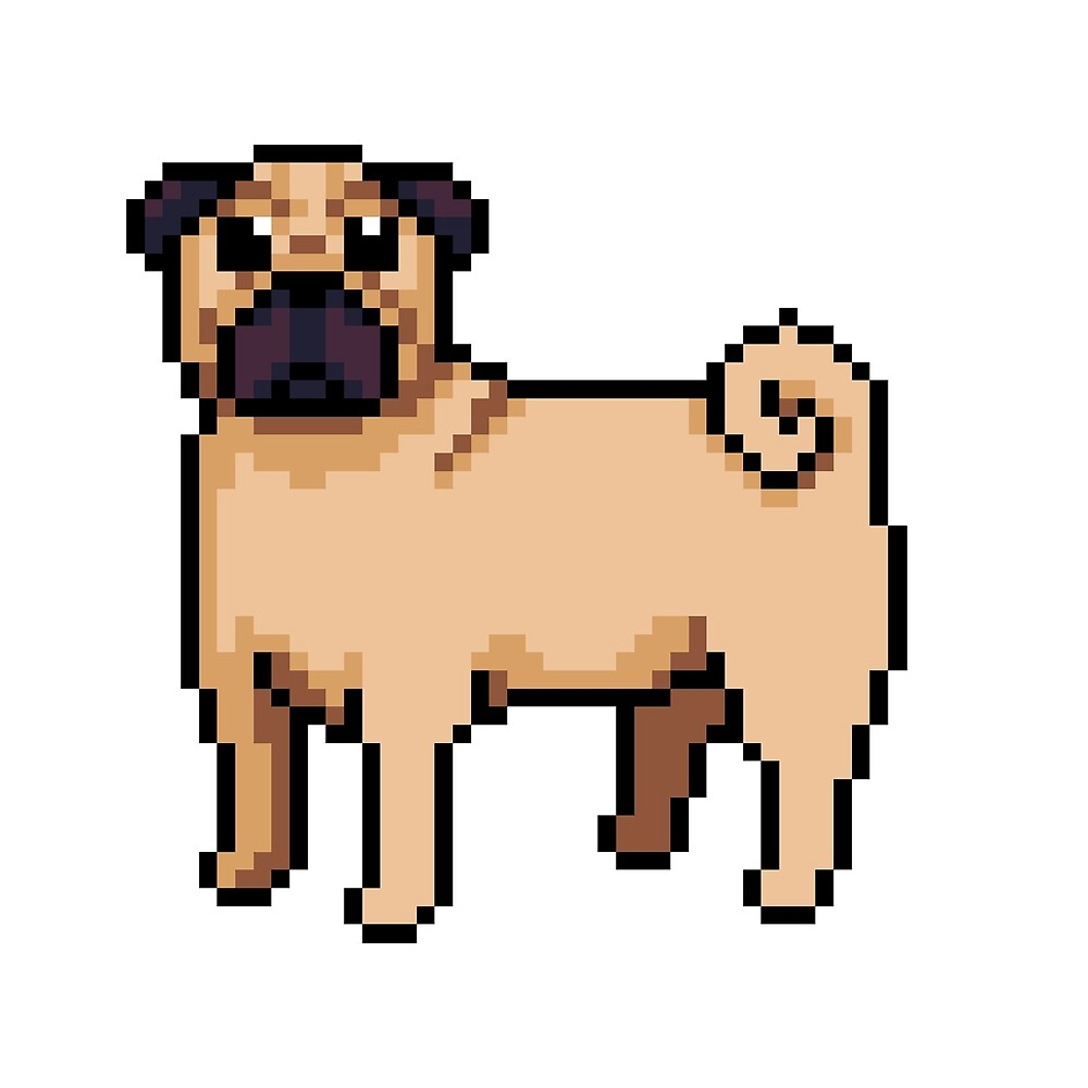 Pixel Puppies - Pug Dog Pixel Art\