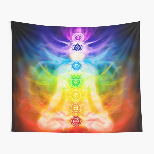 Chakras and energy flow on human body art photo print Tapestry