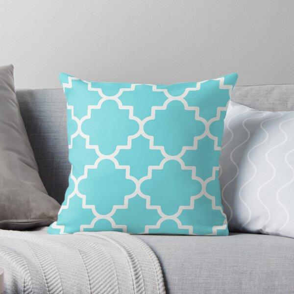 Quatrefoil-3, white on turquoise aqua blue Throw Pillow