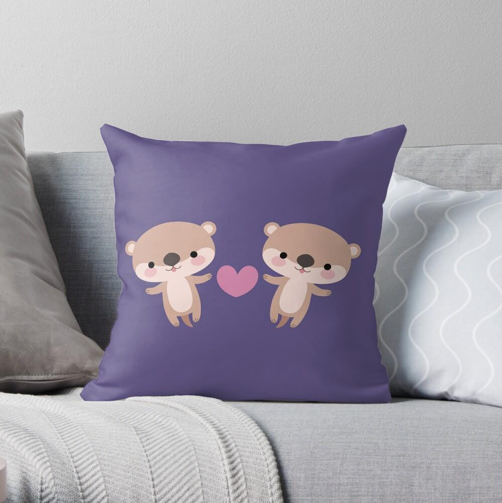Kawaii otters Throw Pillow