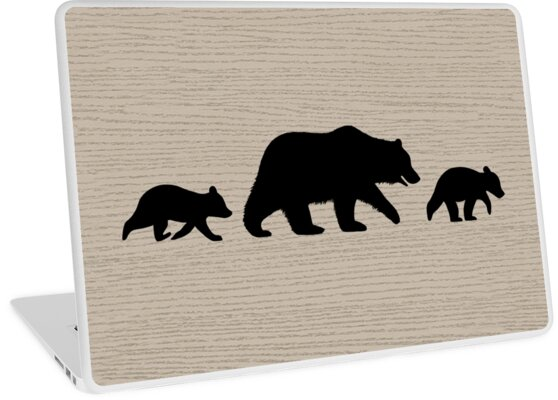 grizzly bear family silhouettes laptop skins by jenn inashvili