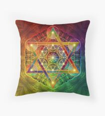 Metatron's Cube with Merkabah and Flower of Life Throw Pillow