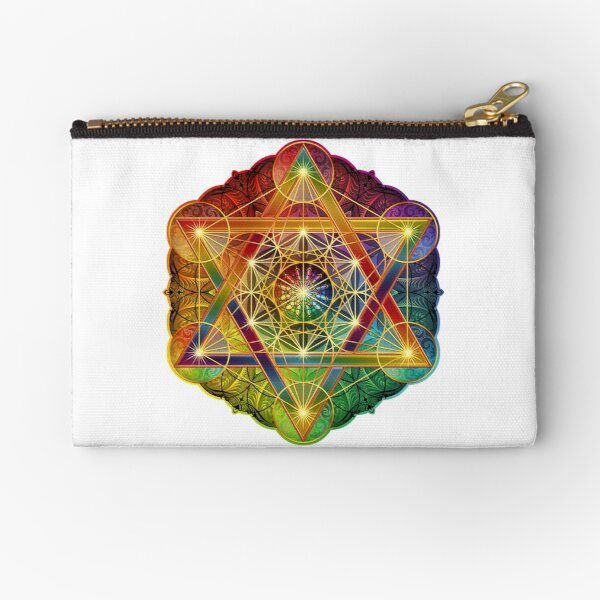 Metatron's Cube with Merkabah and Flower of Life Zipper Pouch