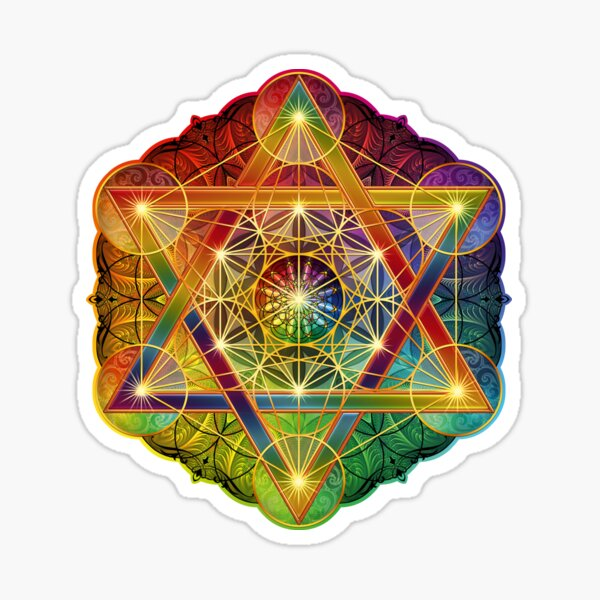 Metatron's Cube with Merkabah and Flower of Life Sticker