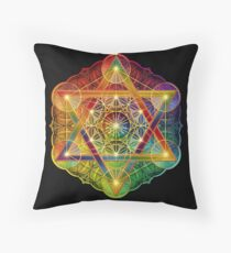 Metatron's Cube with Merkabah and Flower of Life Floor Pillow