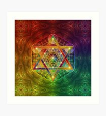Metatron's Cube with Merkabah and Flower of Life Art Print