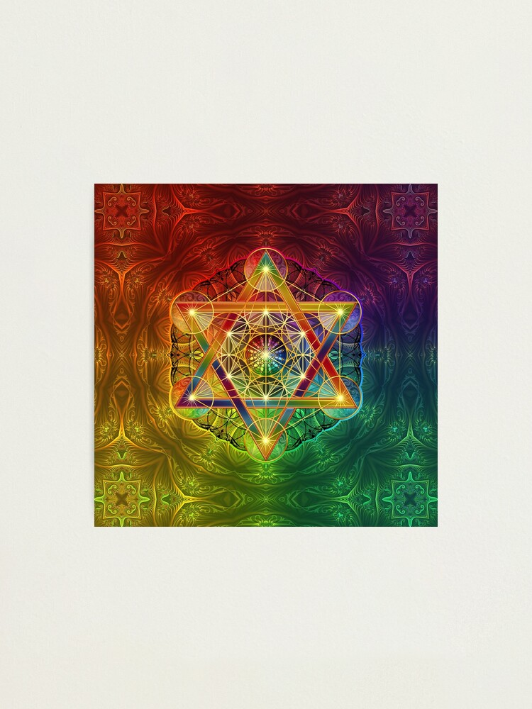 Alternate view of Metatron's Cube with Merkabah and Flower of Life Photographic Print