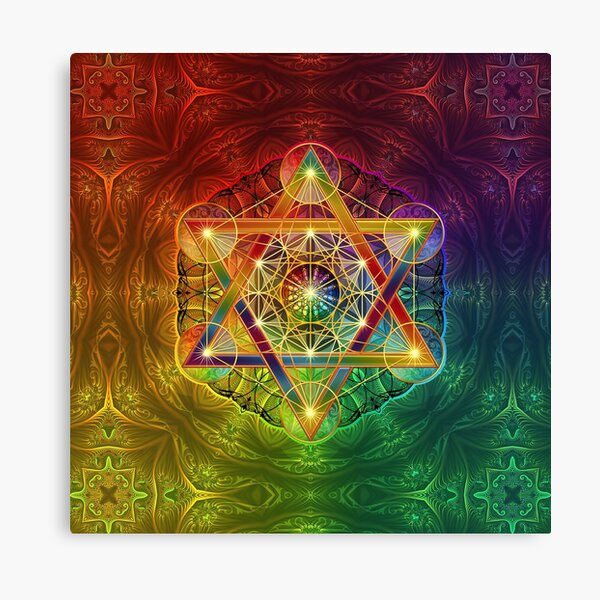 Metatron's Cube with Merkabah and Flower of Life Canvas Print