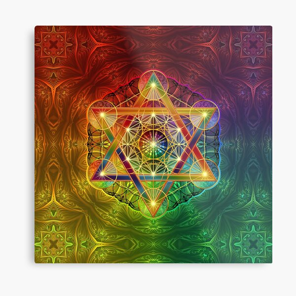 Metatron's Cube with Merkabah and Flower of Life Metal Print