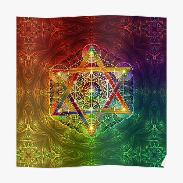 Metatron's Cube with Merkabah and Flower of Life Poster