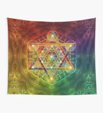 Metatron's Cube with Merkabah and Flower of Life Wall Tapestry