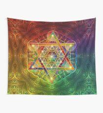 Tela decorativa El cubo de Metatron con Merkabah y flor de la vida