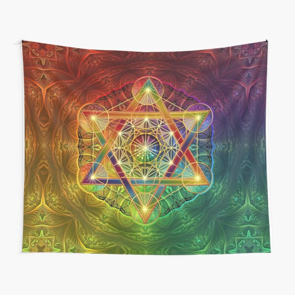 Metatron's Cube with Merkabah and Flower of Life Tapestry