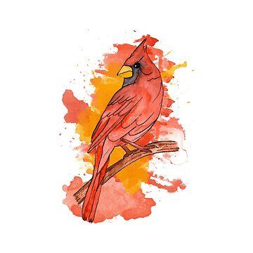 Red cardinal by Pintarrajearte