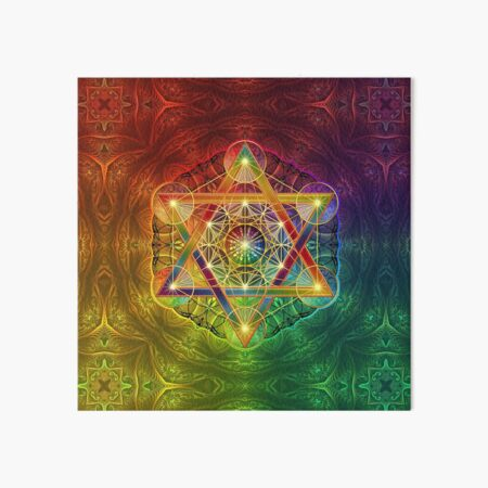 Metatron's Cube with Merkabah and Flower of Life Art Board Print