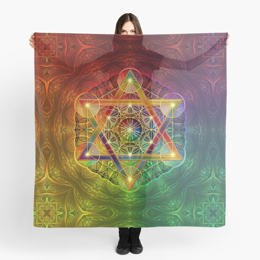 Metatron's Cube with Merkabah and Flower of Life Scarf