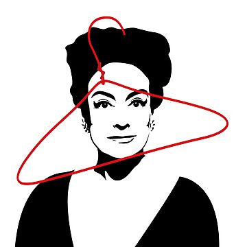 Joan Crawford portrait, black with red wire hanger by gregs-celeb-art