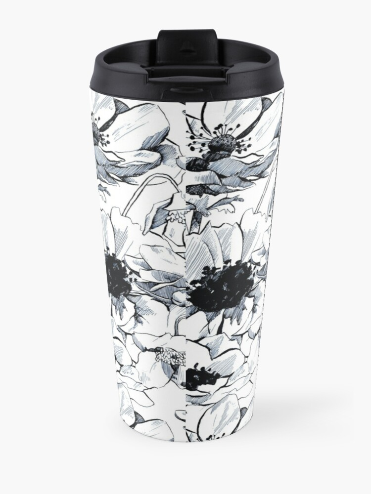 Alternate view of blue poppies Travel Mug