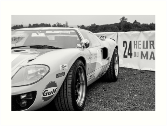 Poster of Ford GT40 HD Race Car B/&W Print  Multiple Sizes Available