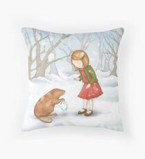 Girl in Snow Throw Pillow