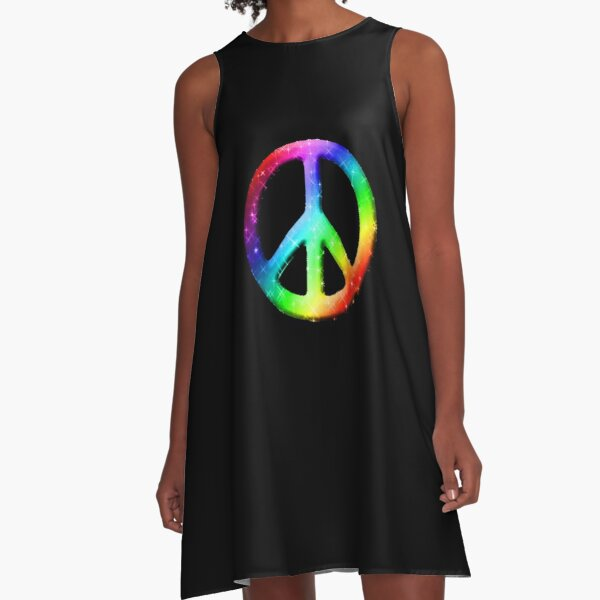 CND Peace Symbol Psychedelic Splash Women/'s High Neck Sleeveless Crop Top