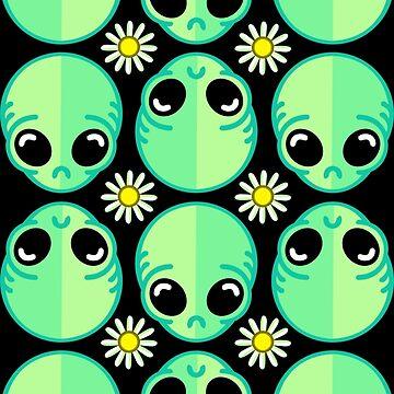 Sad Alien and Daisy Nineties Grunge Pattern Funny Geek Nerd by fikzuleh