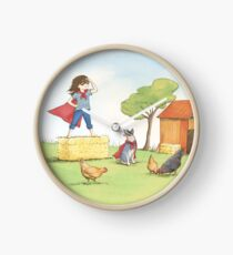 Girl and Cattle Dog Superhero Game Clock