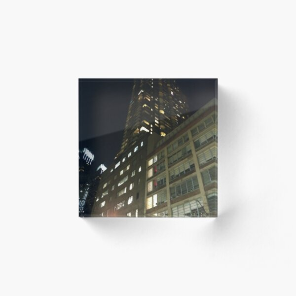 Manhattan, New York, city, Jersey City, view, buildings, water, shore, sky, ✈, plane, skyscrapers Acrylic Block