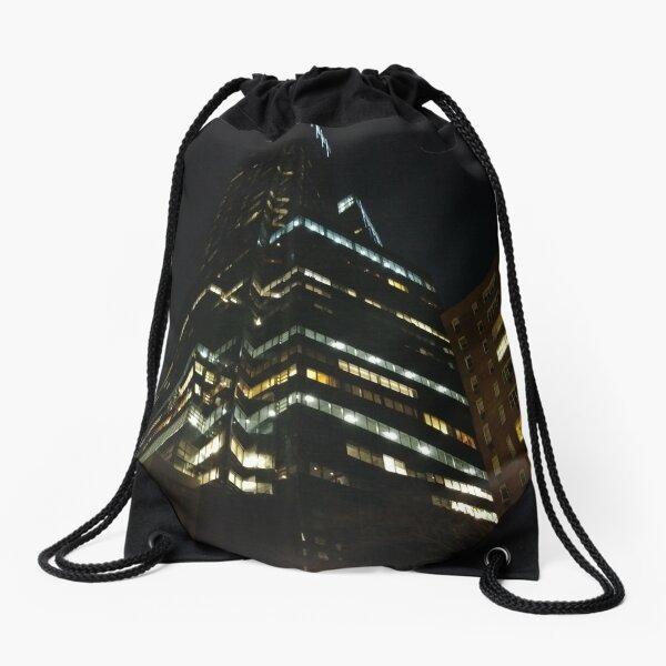 Manhattan, New York, city, Jersey City, view, buildings, water, shore, sky, ✈, plane, skyscrapers Drawstring Bag