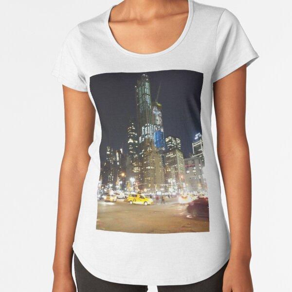 Manhattan, New York, city, Jersey City, view, buildings, water, shore, sky, ✈, plane, skyscrapers Premium Scoop T-Shirt