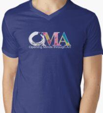 Blue OMA Logo Men's V-Neck T-Shirt