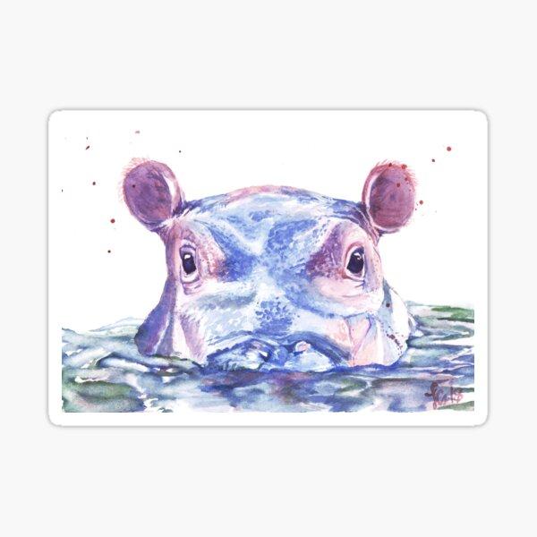 Hippo feliz Acuarela Pegatina