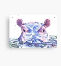 Happy Hippo Watercolor Painting Canvas Print