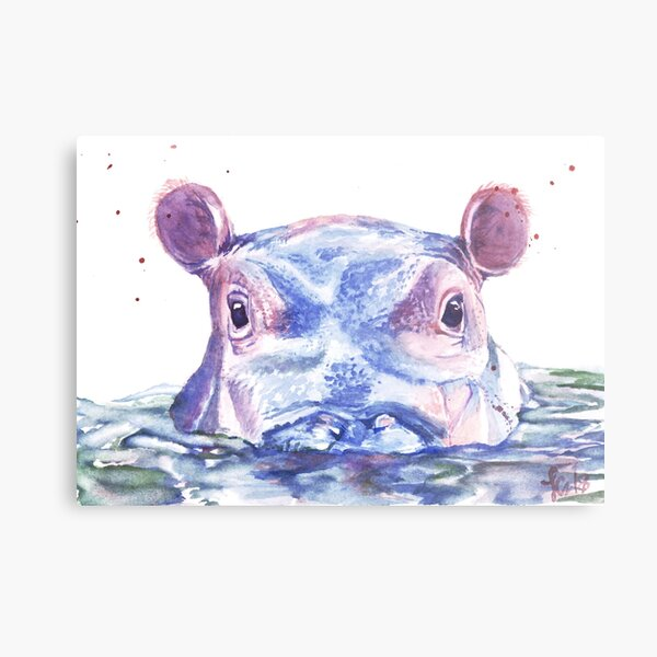 Happy Hippo Watercolor Painting Metal Print