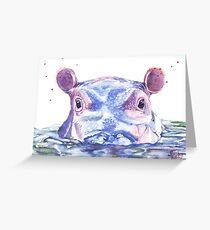 Glückliche Flusspferd-Aquarell-Malerei Grußkarte